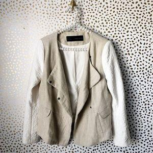 Zara Basic Linen Drape Front Jacket